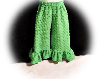Kelly Green Minky Dot Wide Leg Ruffle Pants - Size 4T - Ready to Ship