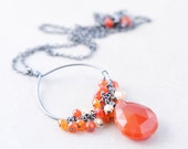 Carnelian Pendant Necklace, Oxidized Sterling Necklace, Fall Necklace