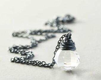Crystal Necklace, Vintage Crystal Oxidized Silver Necklace, Clear Drop Necklace, OOAK