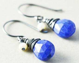 Lapis Dangle Earrings, Monaco Blue Drop Earrings, Navy Blue Earrings, Pearl Earrings