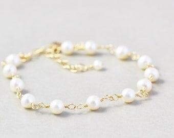 White Pearl Bracelet, Freshwater Pearl Bracelet, June Birthstone, Handmade Chain Bracelet