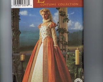 Costume Sewing Pattern Simplicity 8881 Renaissance Elizabethan Costume Dress Shakespeare in Love Size 6 8 10 12 or 14 16 18 20 UNCUT