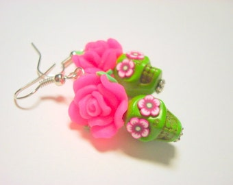 Sugar Skull Earrings Small Green and Bright Pink Day of the Dead Roses and Skull Earrings
