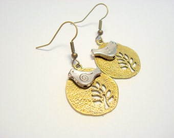 Silver Bird and Antique Brass Tree of Life Earrings