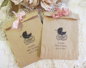 Baby Shower Favor Bags w/ribbons - Vintage Carriage Stroller Personalized Kraft Gift Treat Candy Bags - Set of 20 - Choose Ribbons- sprinkle
