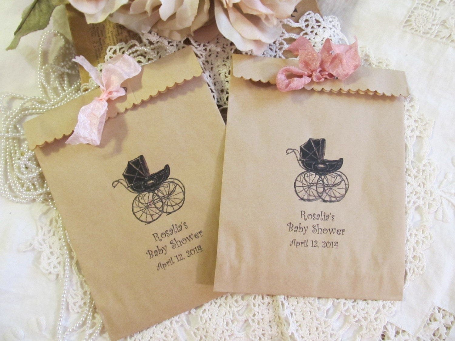 baby shower favor bags w ribbons vintage carriage stroller