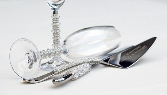 wedding cake cutter sets bling cake server set toasting flutes beaded cake knife set 8609