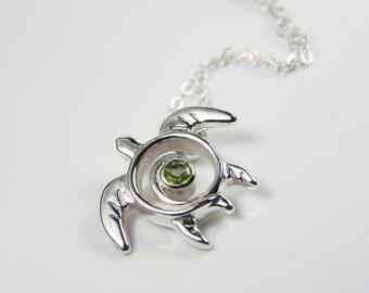 Sea Turtle Necklace - Peridot Gemstone Turtle Necklace - Birthstone Sea Turtle Pendant - Turtle Totem Sterling Silver - Green Ocean Sea Life