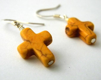 Yellow Stone Cross Earrings