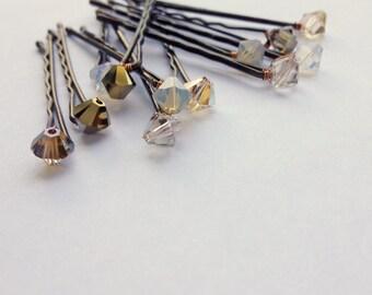 Golden Crystal Hair Pins - Swarovski Metallics Gold Hues (set of 12 bobby pins) Wedding Hair Accessory