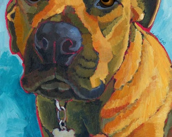 Mutt No. 3 - magnets, coasters and art prints boxer rescue adopt pit bull