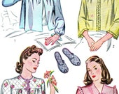 1940s Bed Jacket Slippers Pattern Simplicity 4756 Loose Fitting Bed Jacket Quilted Peep Toe Slippers Bust 34