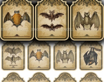 VICTORIAN BATS - Digital Printable Collage Sheet - Mini Vampire Bat Hang Tags, Small Vintage Distressed Halloween Tags, Instant Download