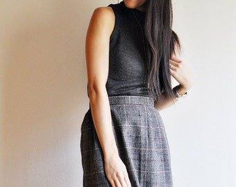 Wool PLAID Pencil Skirt//gray, black and pink plaid, high waisted, size S