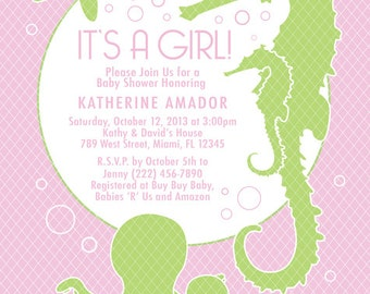 COLOR OPTIONS - Pink Girl Sea Theme Baby Shower Invitation -Digital File Printable - Item 111B