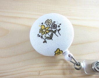 Retractable Badge Holder ID Badge Reel - YELLOW FLOWERS