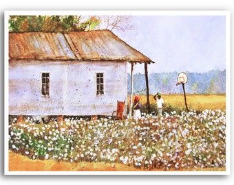 "13x19"" Louisiana Cotton Field Folk Acrylic Painting Art Print Signed and Numbered"