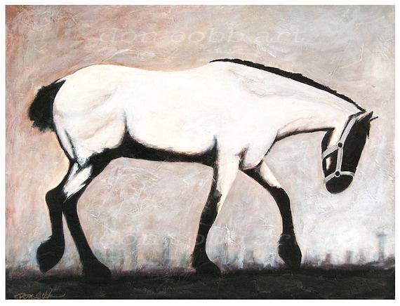 13x19 White Horse Dallas Texas Skyline Art Print