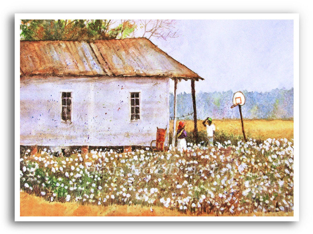 13x19 Louisiana Cotton Field Folk Acrylic Painting Art