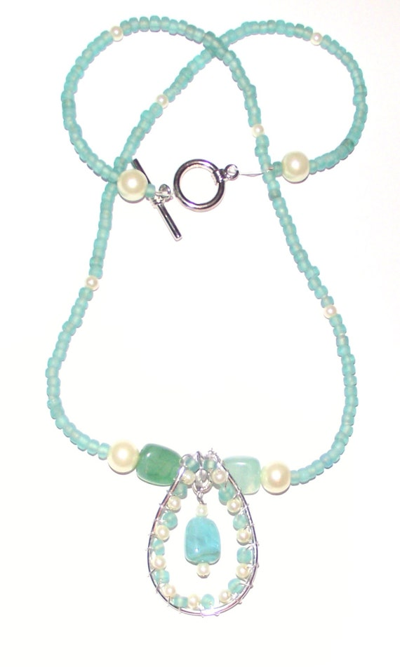 Turquoise necklace seaglass with faux pearl seed beads aqua