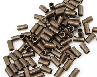 Vintaj 6mm x 2mm TUBE BEAD - Antique Brass Beads Brass Aged Natural Brass Spacer Bead Bronze Beads for Jewelry Making Bohemian Jewelry Beads