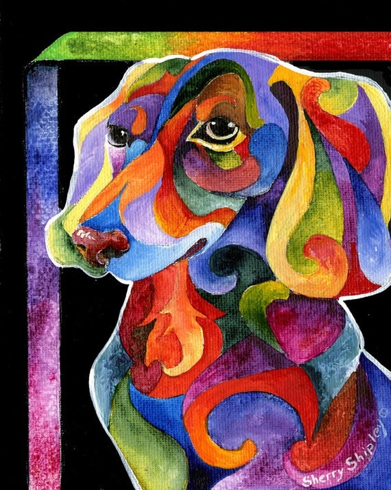 8x10 dachshund dog art print by sherry shipley party for Dog painting artist