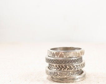 Womens Gift - Silver Pattern Ring -  Silver Jewelry - Stacking Rings - Silver Wedding Band