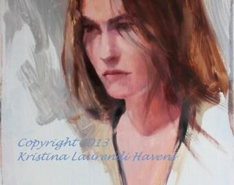 Oil Portrait of a Beautiful Brunette in Beige Robe