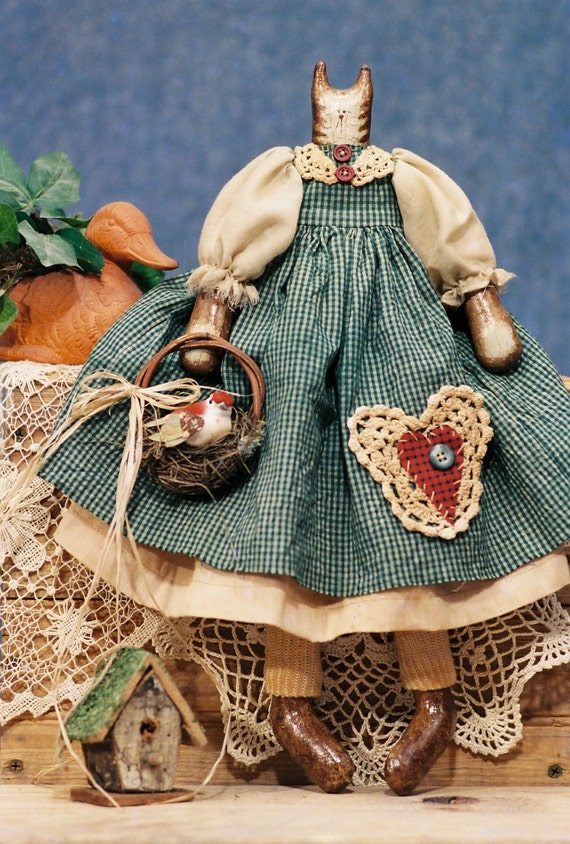 Cloth Doll E-Pattern 17in FolkArt Country Girl Cat Epattern