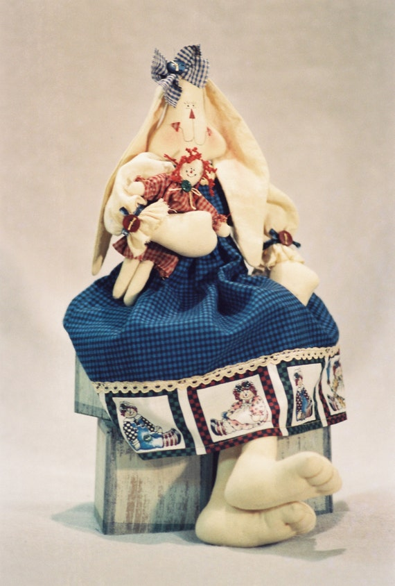 Cloth Doll E-Pattern- 18in Raggedy Ann Bunny Epattern