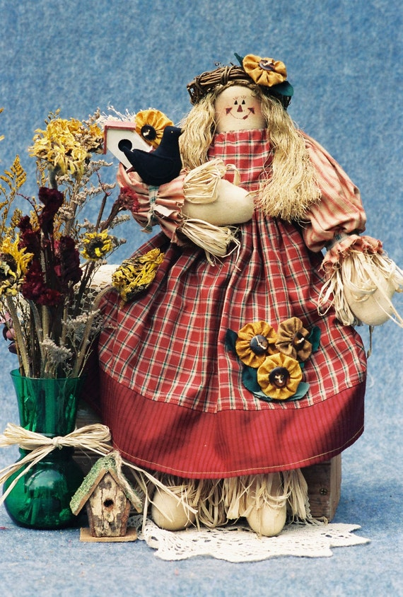 Cloth Doll E-Pattern  21in Country Girl Scarecrow E-pattern