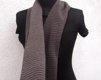 Brown and Taupe Scarf - Reversible Pure Merino Unisex Scarf - Classical Elegance