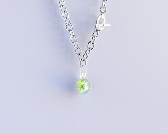 Green apple shattered glass cracked fried marble chunky silver cable chain necklace with silver toggle clasp