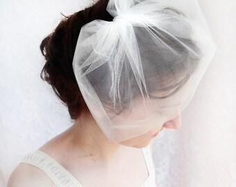 tulle birdcage veil, ivory birdcage veil, tulle veil, ivory wedding veil, white birdcage veil, bird cage veil, tulle veil, bridal headpiece