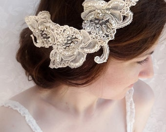 lace headpiece, rhinestone lace hairpiece, Alencon lace, wedding hairpiece, bridal headpiece - ISABELLA - luxury lace wedding hair comb
