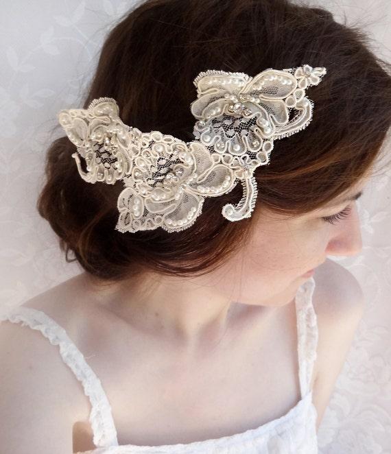 lace headpiece rhinestone lace hairpiece Alencon by ... - photo #3