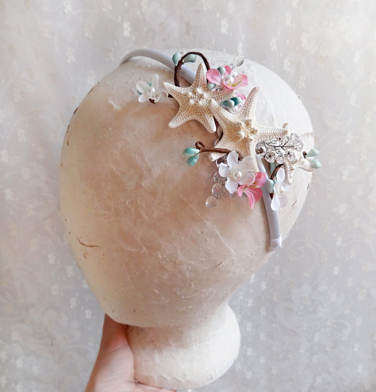 Seashell bridal headband starfish hair accessories for Seashells for hair