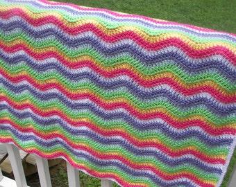 Rainbow Baby Blanket - Ripple Pattern - Crochet Blanket - Striped Blanket - Waves - Chevrons - Soft Yarn - Ready to Ship - Heirloom