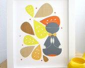 Doll Art Print, Mid Century Modern, Abstract Art, Russian Doll
