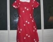 Vintage Mod 50s 60s Heavy Linen Bow Collar Dress Polka Dot Flower Mini Dress Red & White