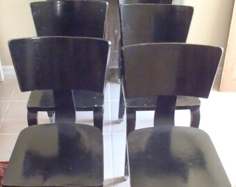 Vintage 1940s Authentic Signed Thonet Chairs Set of 6 Black Laqured