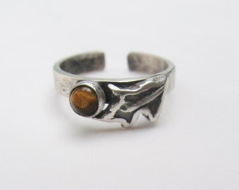 In the Woods, Tiger Eye Toe Ring, gemstone toe ring, spiritual Tiger Eye gemstone jewelry