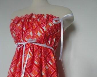 Bright Eco Friendly Dress. Beach Dress. Party Dress. Strapless Dress. Red Dress. Orange Red Purple. Summer Dress. Fire Dress.