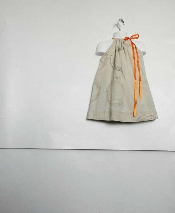 Girls Pillowcase Dress. Upcycled Girls Dress. Rustic Dress. Woodland Dress. Cream Dress. Size 2T 3T 4T 5T. Bright Orange. Kids Dress. Fall