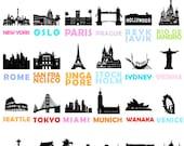City Prints: Set of 4 Prints // City Art Prints Artwork