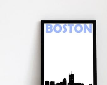 Boston Print // Boston Skyline // Housewarming Gift // Boston Art // Boston Poster // Massachusetts Wall Art // United States Wall Art