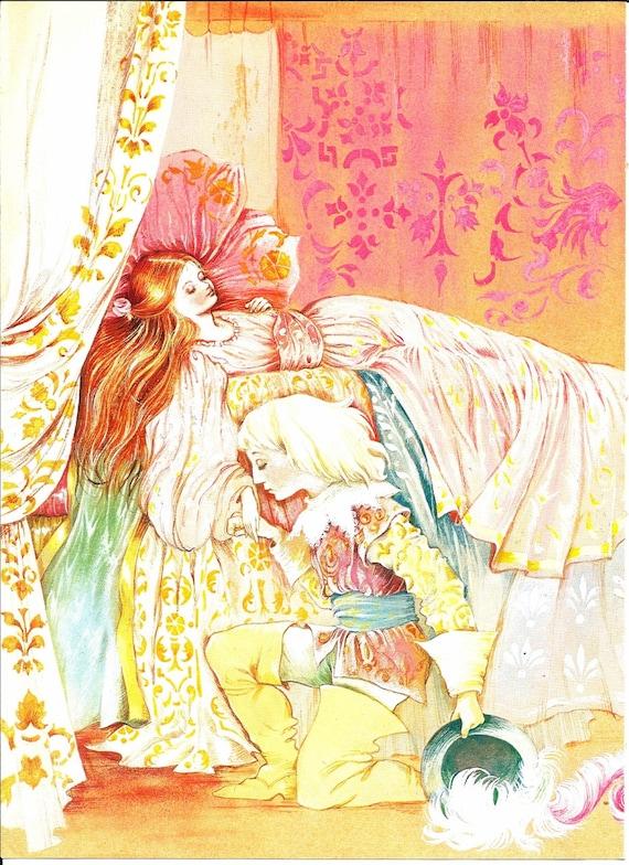 Fairy Tale Print Sleeping Beauty Vintage by VickiesBeachHouse