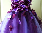 Flower Girl Dress, Tutu Dress, Photo Prop, in Purple and Lavender, Flower Top, Tutu Dress