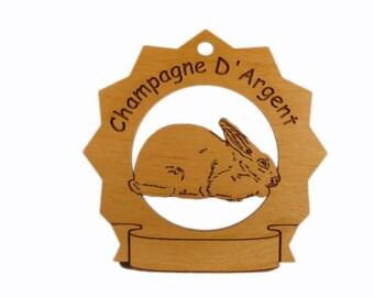 Champagne D'Argent Rabbit Personalized Wood Ornament