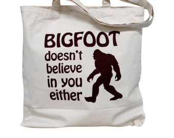 BIGFOOT Canvas Tote Bag - Yeti on a Natural Canvas Tote Bag
